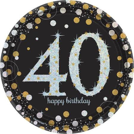 Sparkling Celebration 40th Birthday Paper Dessert Plates, 7'' | 8 ct