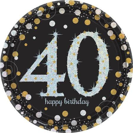 Sparkling Celebration 40th Birthday Paper Plates, 9'' | 8 ct