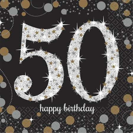 Sparkling Celebration 50th Birthday Beverage Napkins | 16 ct