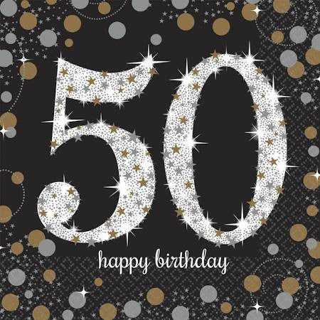 Sparkling Celebration 50th Birthday Lunch Napkins | 16 ct