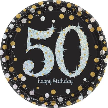 Sparkling Celebration 50th Birthday Paper Dessert Plates, 7'' | 8 ct