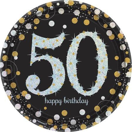 Sparkling Celebration 50th Birthday Paper Plates, 9'' | 8 ct