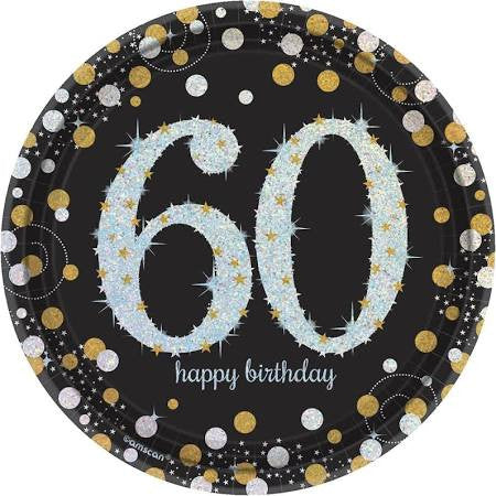 Sparkling Celebration 60th Birthday Paper Dessert Plates