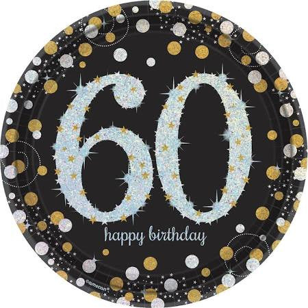 Sparkling Celebration 60th Birthday Paper Plates