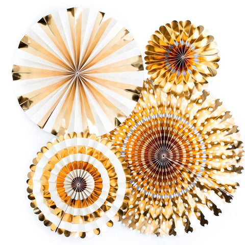 Gold Basic Party Fans | 4 ct
