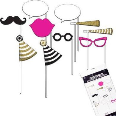 Black/Gold/Pink Photo Booth Props | 10 ct