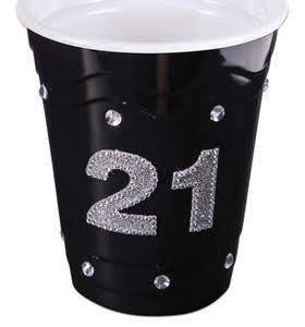 21st Birthday Black Bling Favor Cup | 1 ct