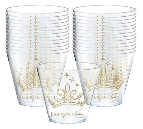 Disney Princess Once Upon a Time Clear Plastic Cups 9oz | 8ct
