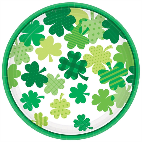 St. Patrick's Day Blooming Shamrocks Paper Dinner Plates 9"