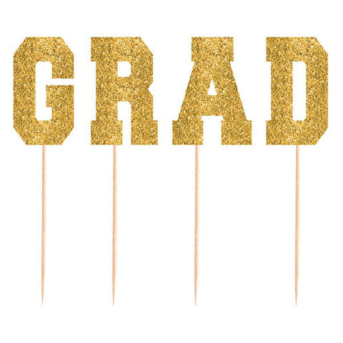 Tall Glitter Gold Grad Party Picks 4ct