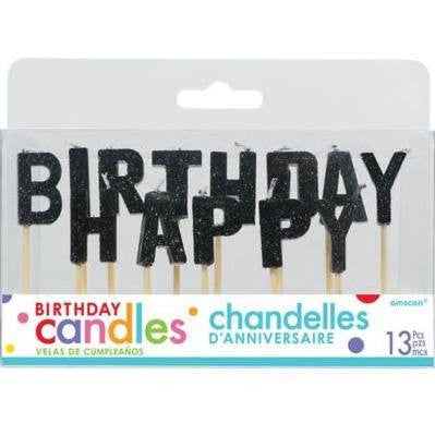 Black Happy Birthday Pick Candle