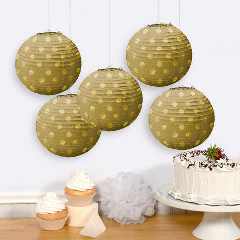 Gold Mini Paper Lanterns, 5'' | 5 ct