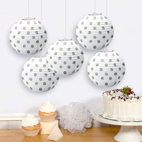 Frosty White Mini Paper Lanterns, 5'' | 5 ct