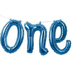 1st Birthday Blue One Balloon Banner