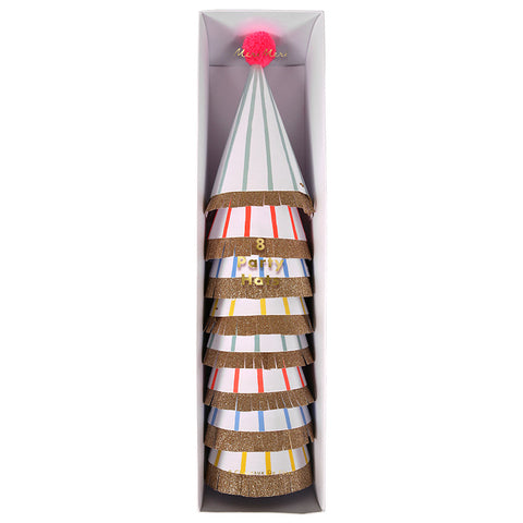 Stripe Assorted Party Hats | 8 ct