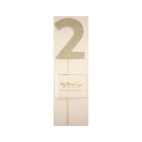 Gold Glitter Number Cake Topper Party Pick No. 2