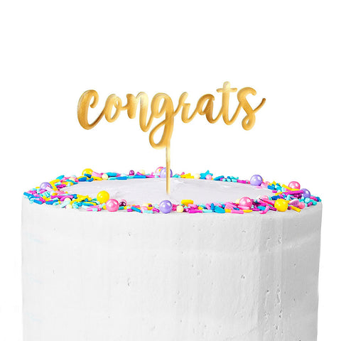 Metallic Gold Congrats Cake Topper