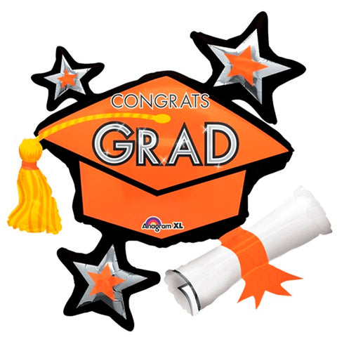 Congrats Grad Orange ShuperShape Mylar Balloon 31"