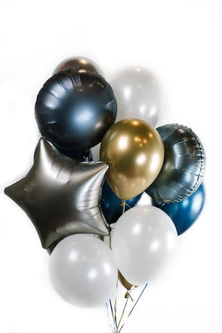 Platinum Star Silver Blue Balloon Bouquet