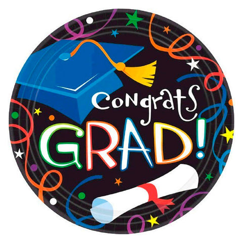 Colorful Grad Celebrations Lunch Plates 9"