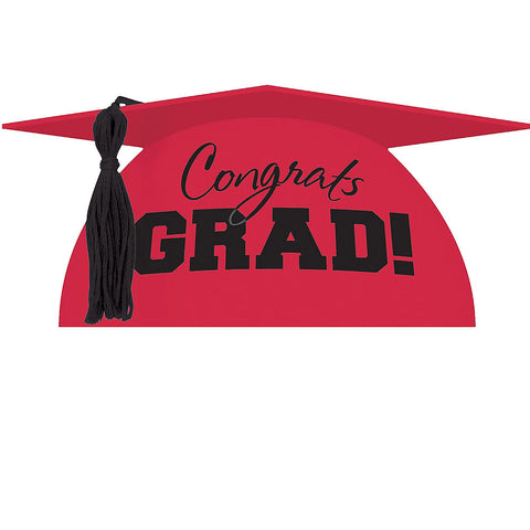 Red Graduation Cap Cake Topper | 1ct
