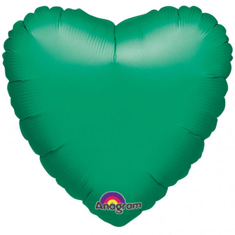 "Metallic Green Heart 18"" Mylar Balloon 