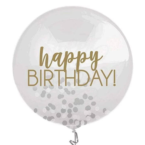 Happy Birthday Gold Confetti Balloon 24"