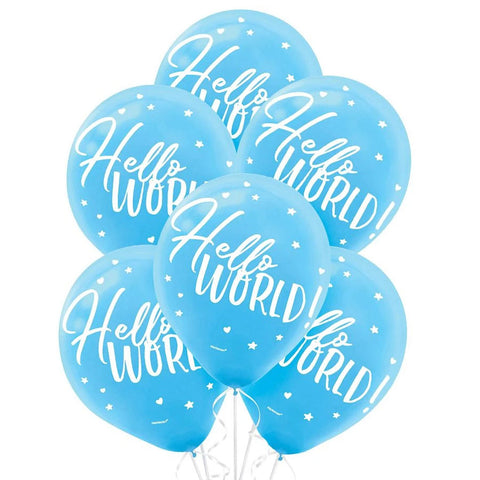 Blue Hello World Printed Latex Balloons, 12'' | 15 ct