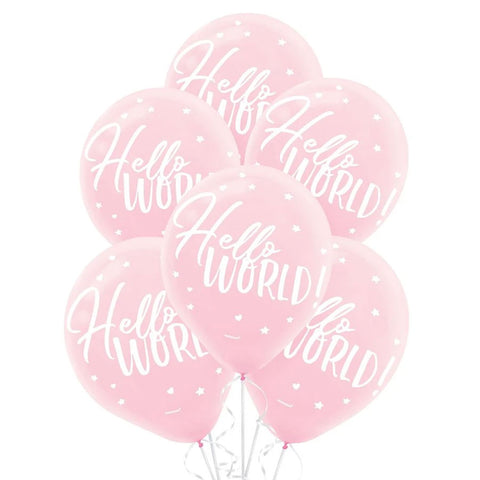 Pink Hello World Printed Latex Balloons, 12'' | 15 ct