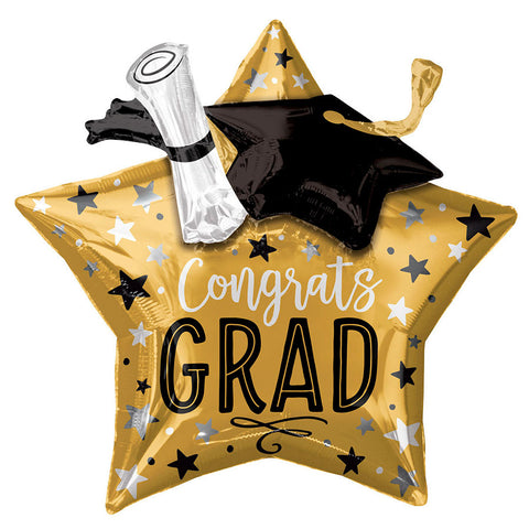 Graduation Gold Star, Cap, and Diploma Mylar Balloon 28"