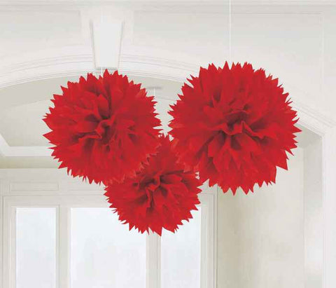 Red Fluffy Decorations | 3pc, 16""