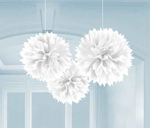 White Fluffy Decorations | 3pc, 16""