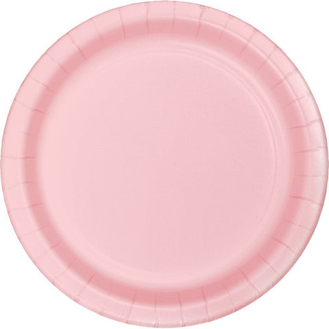 Classic Pink Paper Dessert Plates, 7'' | 24 ct