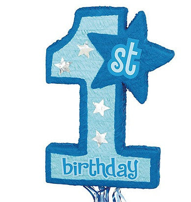 1st Birthday Blue Pull String Pinata