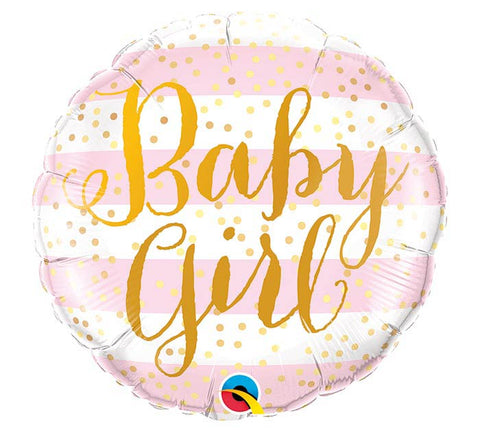 Baby Girl Pink Stripes Balloon 18"