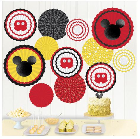 Mickey Mouse Paper Fan Decorations  | 17pcs