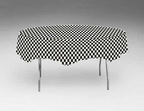 Black Checkered Round Tablecloth | 82''