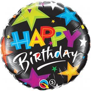 Happy Birthday Brilliant Star Mylar Balloon 18"