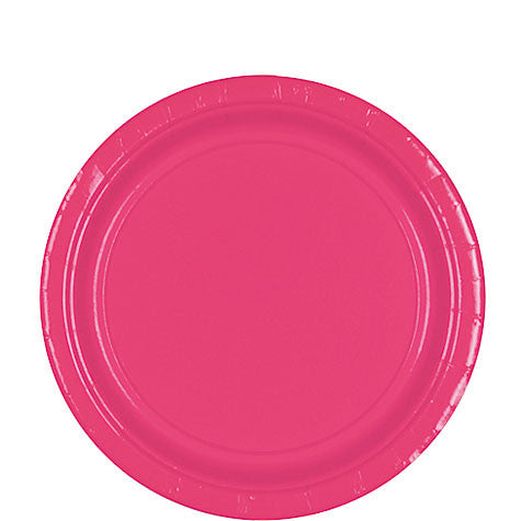 Bright Pink 9'' Paper Plates | 20ct