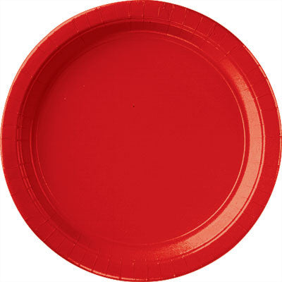 "Apple Red 10.5"" Paper Plates 