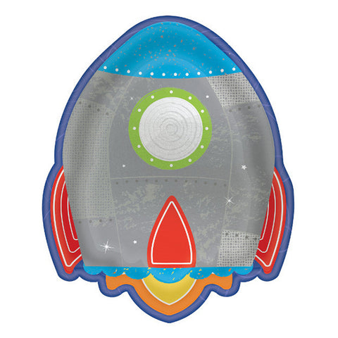 """Blast Off"" Space Party Spaceship Plates 7"" 