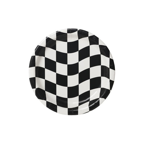 Checkered Flag Paper Plates, 9'' | 8 ct