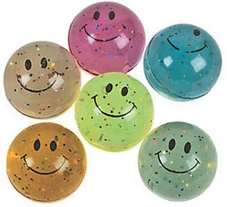 Hi-Bounce Smiley Face Glitter Balls |12 ct