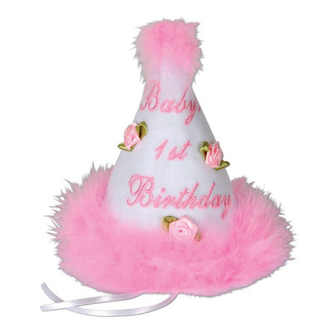 Baby's 1st Birthday Girl Cone Party Hat | 1 ct