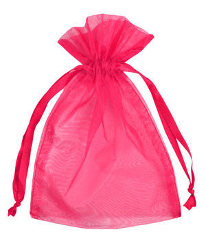 Hot Pink Organza Bags | 10 ct