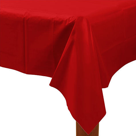 "Apple Red Rectangular Table Cover | 1ct, 54"" x 108"""