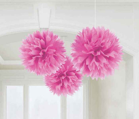 Bright Pink Fluffy Decorations | 3pc, 16""