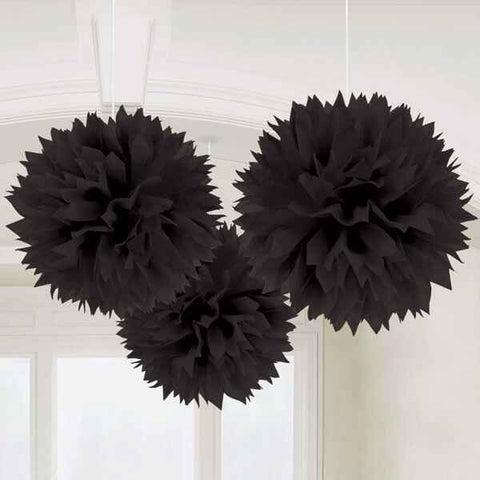 Black Fluffy Decorations | 3pc, 16""