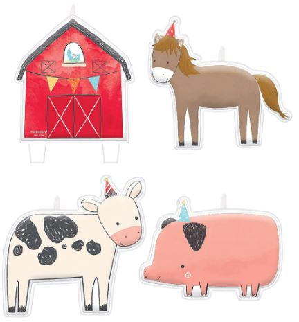 Barnyard Birthday Party Birthday Candles | 4ct