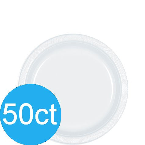 "Frosty White 7"" Plastic Plates 